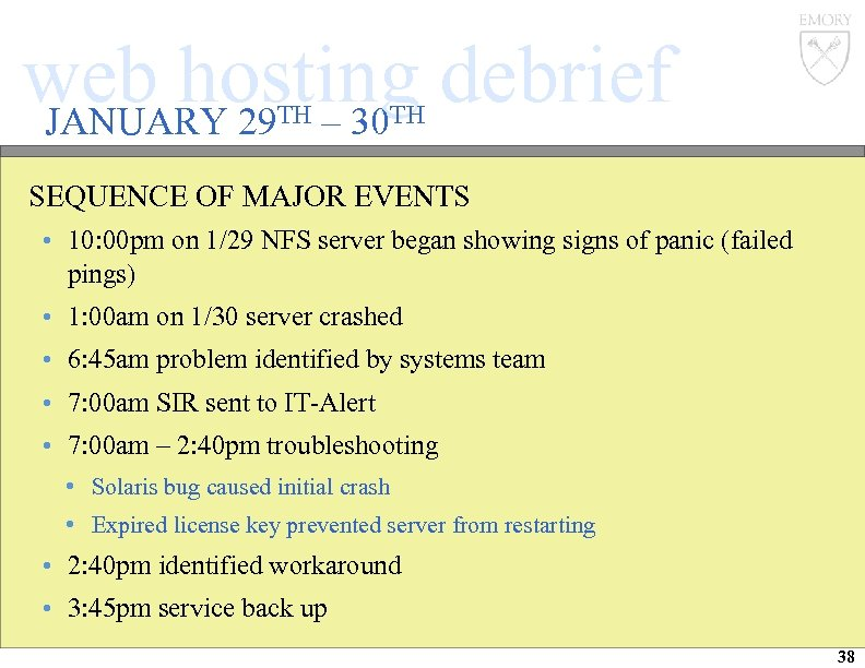 web hosting debrief JANUARY 29 – 30 TH TH SEQUENCE OF MAJOR EVENTS •