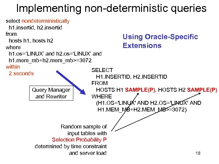 Implementing non-deterministic queries select nondeterministically h 1. insertid, h 2. insertid from Using Oracle-Specific