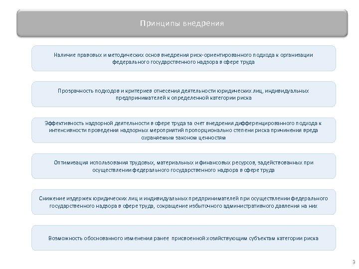 Принципы внедрения Наличие правовых и методических основ внедрения риск-ориентированного подхода к организации федерального государственного
