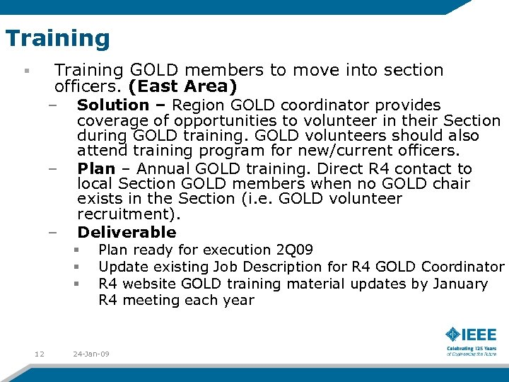 Training GOLD members to move into section officers. (East Area) – – – Solution