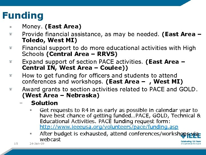 Funding Money. (East Area) Provide financial assistance, as may be needed. (East Area –