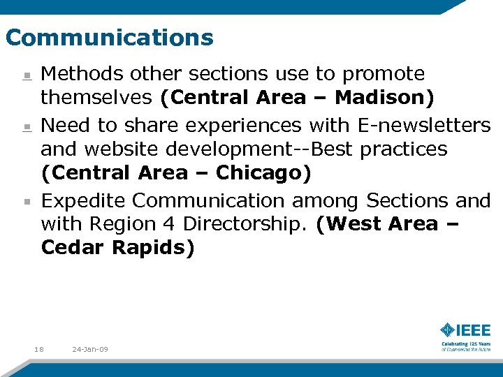 Communications Methods other sections use to promote themselves (Central Area – Madison) Need to