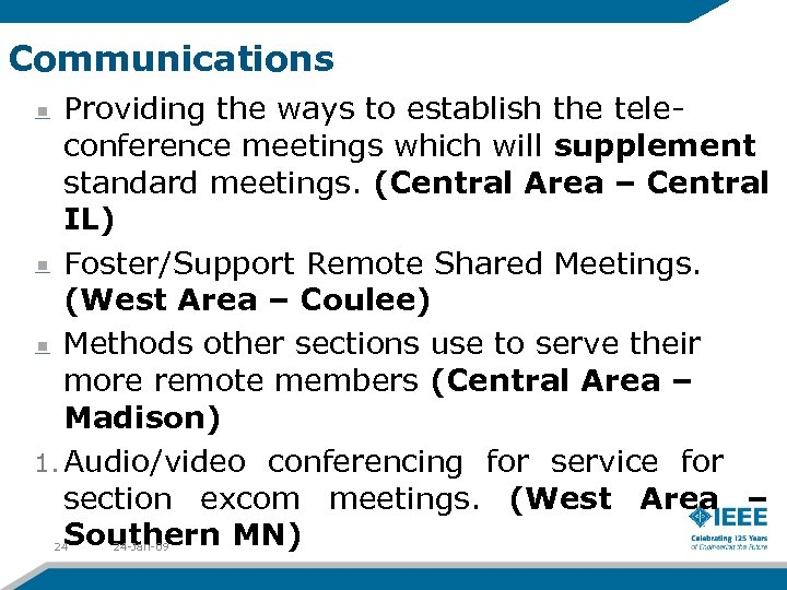 Communications Providing the ways to establish the teleconference meetings which will supplement standard meetings.