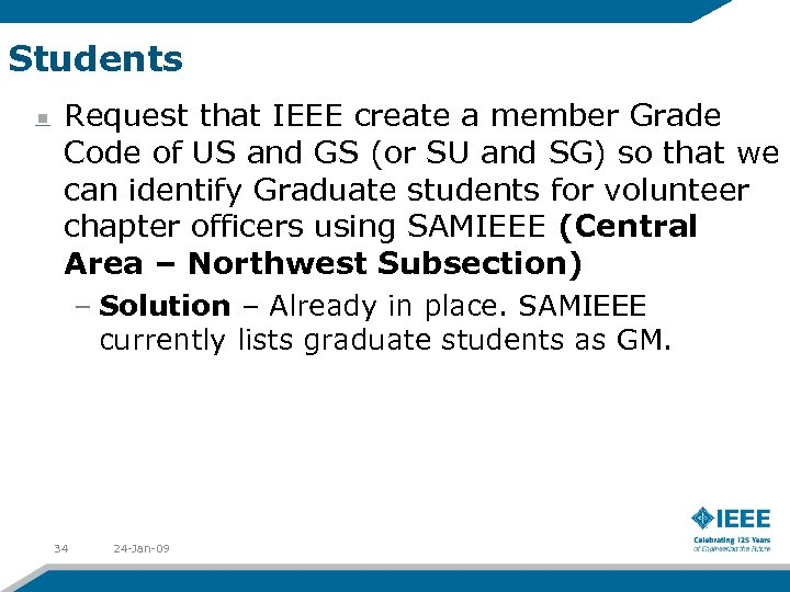 Students Request that IEEE create a member Grade Code of US and GS (or