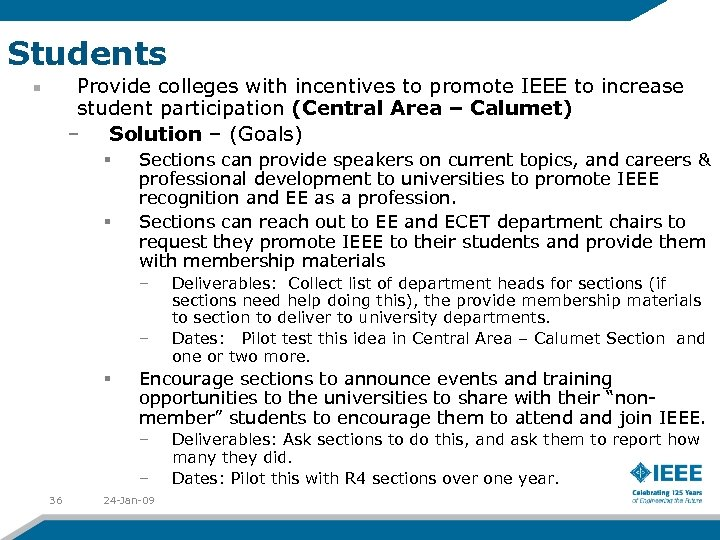Students Provide colleges with incentives to promote IEEE to increase student participation (Central Area