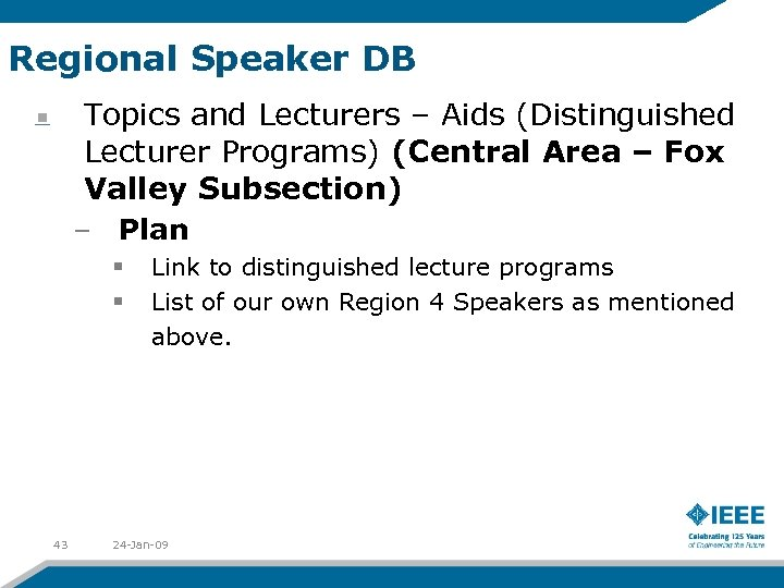 Regional Speaker DB Topics and Lecturers – Aids (Distinguished Lecturer Programs) (Central Area –
