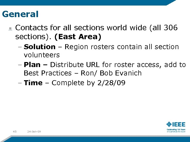 General Contacts for all sections world wide (all 306 sections). (East Area) – Solution
