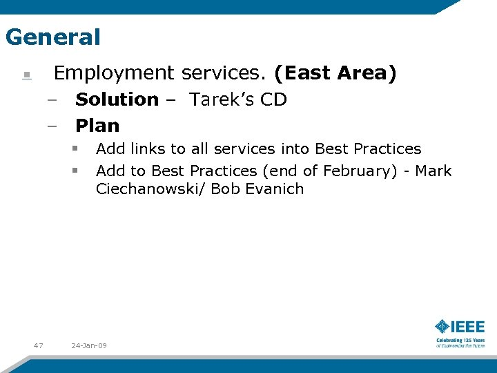 General Employment services. (East Area) – Solution – Tarek's CD – Plan § §