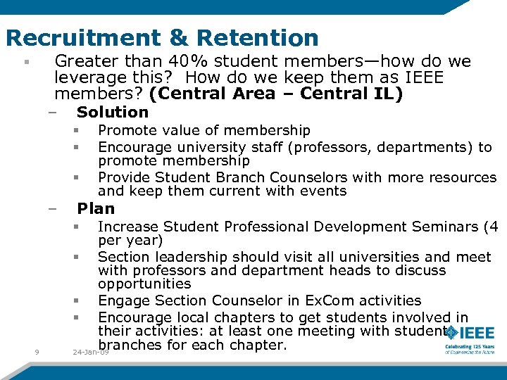 Recruitment & Retention Greater than 40% student members—how do we leverage this? How do