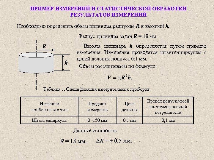 ПРИМЕР ИЗМЕРЕНИЙ И СТАТИСТИЧЕСКОЙ ОБРАБОТКИ РЕЗУЛЬТАТОВ ИЗМЕРЕНИЙ Необходимо определить объем цилиндра радиусом R и