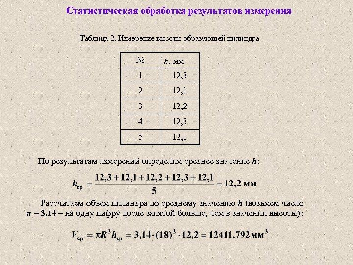 Статистическая обработка результатов измерения Таблица 2. Измерение высоты образующей цилиндра № h, мм 1
