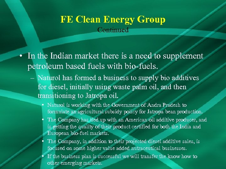 FE Clean Energy Group Continued • In the Indian market there is a need