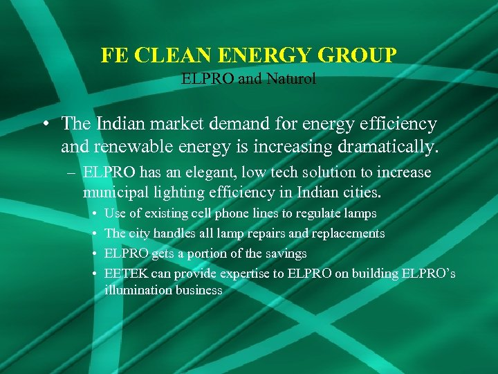 FE CLEAN ENERGY GROUP ELPRO and Naturol • The Indian market demand for energy