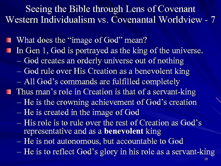 Seeing the Bible through Lens of Covenant Western Individualism vs. Covenantal Worldview - 7