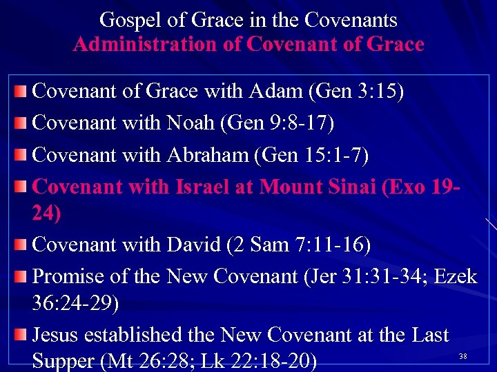 Gospel of Grace in the Covenants Administration of Covenant of Grace with Adam (Gen