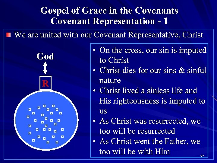 Gospel of Grace in the Covenants Covenant Representation - 1 We are united with