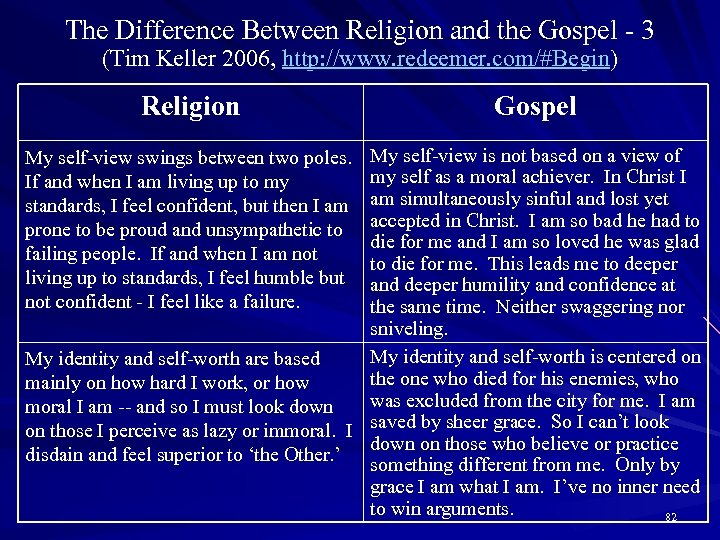 The Difference Between Religion and the Gospel - 3 (Tim Keller 2006, http: //www.