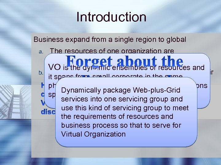 Introduction Business expand from a single region to global a. b. The resources of