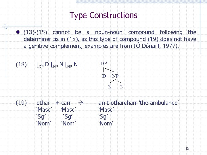Type Constructions (13)-(15) cannot be a noun-noun compound following the determiner as in (18),