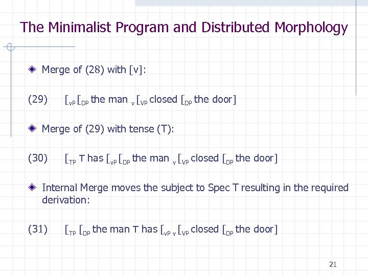 The Minimalist Program and Distributed Morphology Merge of (28) with [v]: (29) [v. P