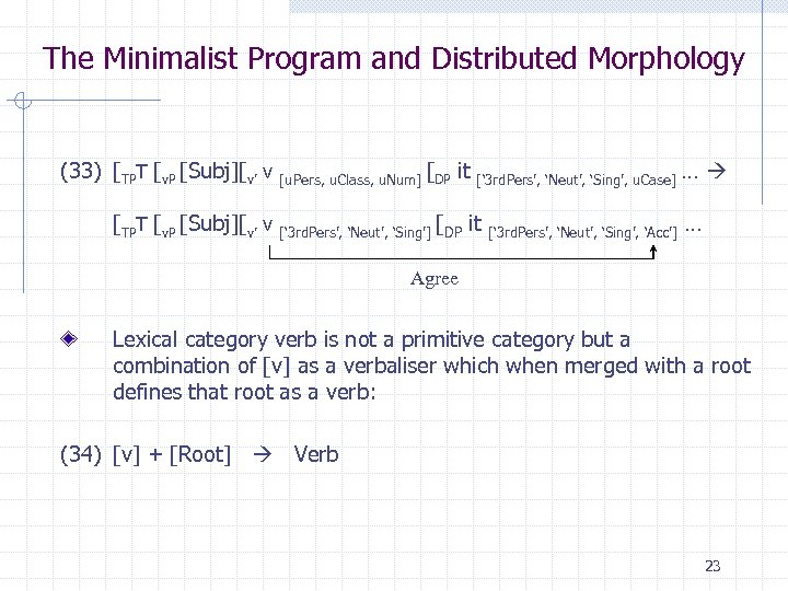 The Minimalist Program and Distributed Morphology (33) [TPT [v. P [Subj][v' v [u. Pers,