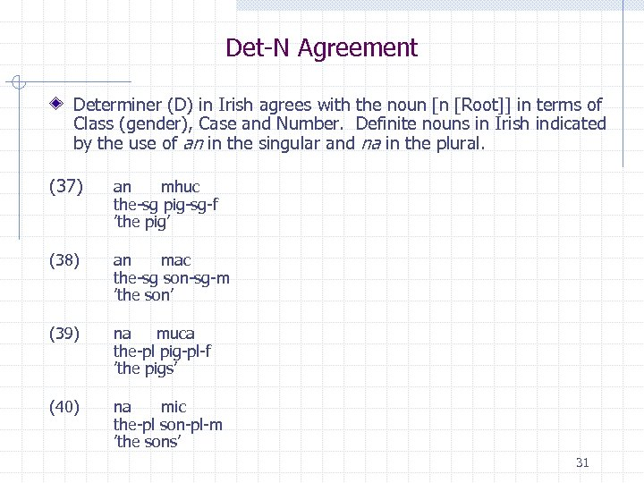 Det-N Agreement Determiner (D) in Irish agrees with the noun [n [Root]] in terms