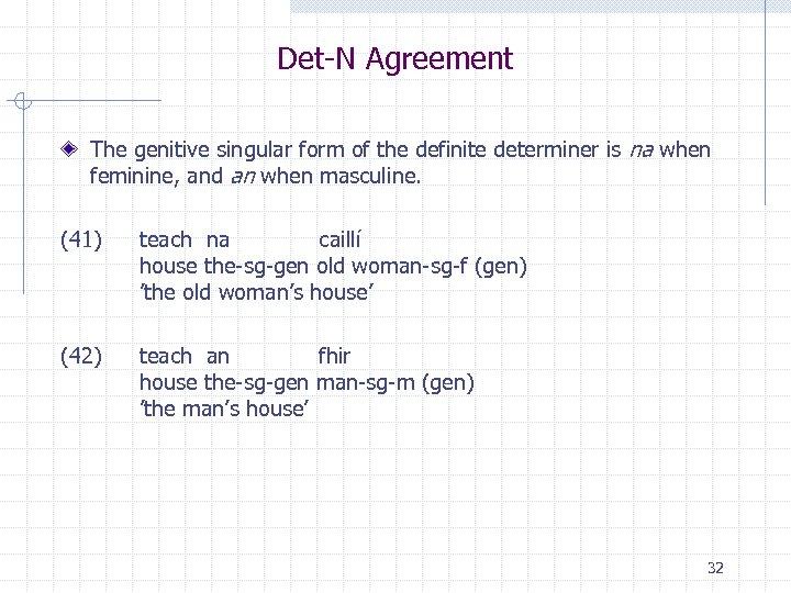 Det-N Agreement The genitive singular form of the definite determiner is na when feminine,