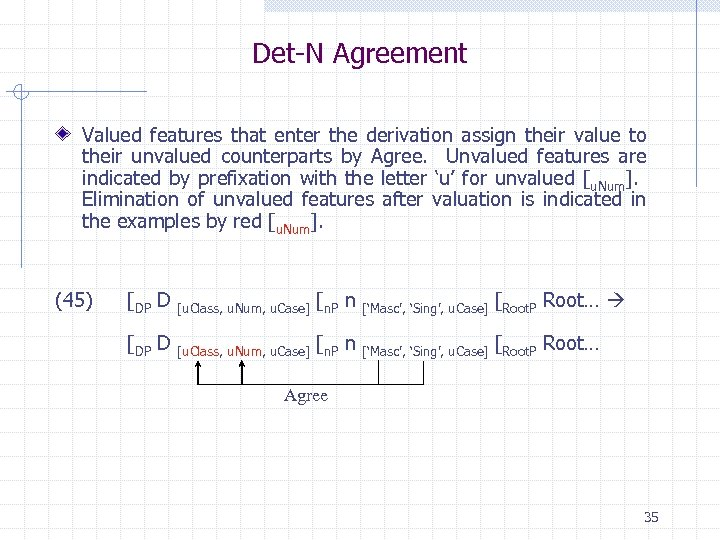 Det-N Agreement Valued features that enter the derivation assign their value to their unvalued