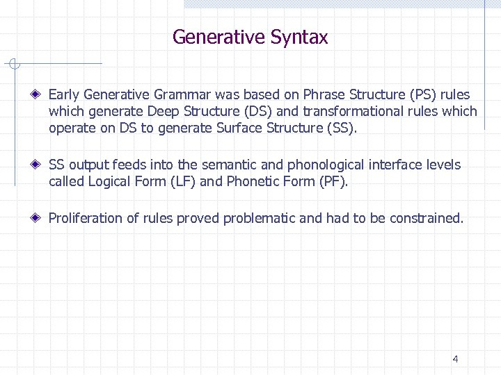 Generative Syntax Early Generative Grammar was based on Phrase Structure (PS) rules which generate