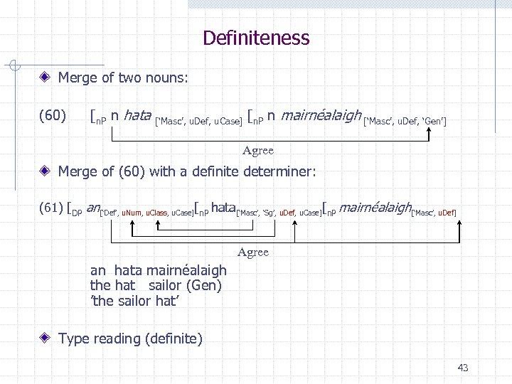 Definiteness Merge of two nouns: (60) [n. P n hata ['Masc', u. Def, u.