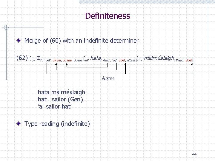 Definiteness Merge of (60) with an indefinite determiner: (62) [DP Ø['In. Def', u. Num,