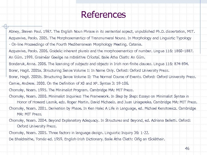 References Abney, Steven Paul. 1987. The English Noun Phrase in its sentential aspect, unpublished