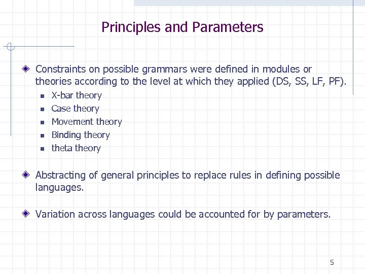 Principles and Parameters Constraints on possible grammars were defined in modules or theories according