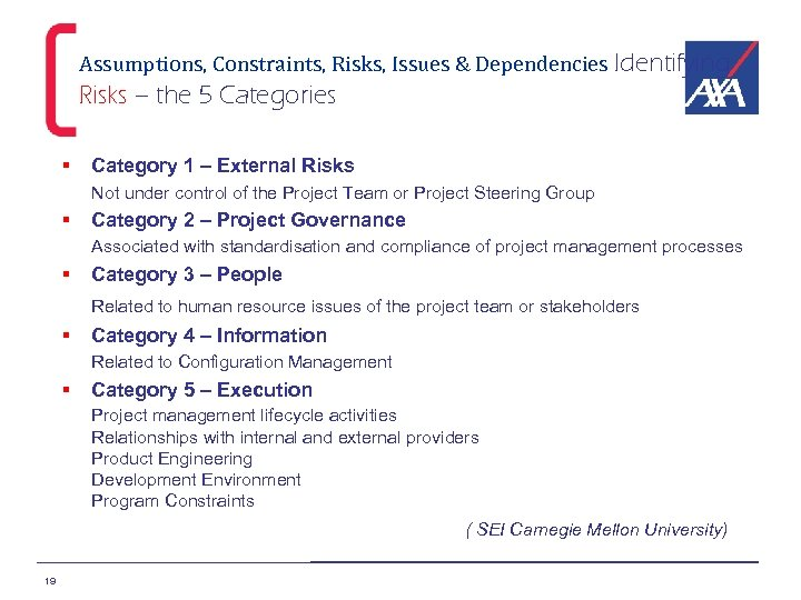Assumptions, Constraints, Risks, Issues & Dependencies Identifying Risks – the 5 Categories § Category