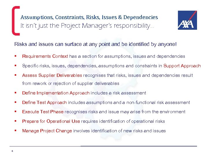 Assumptions, Constraints, Risks, Issues & Dependencies It isn't just the Project Manager's responsibility… Risks
