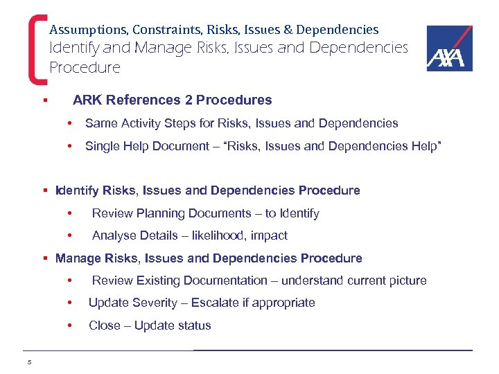 Assumptions, Constraints, Risks, Issues & Dependencies Identify and Manage Risks, Issues and Dependencies Procedure
