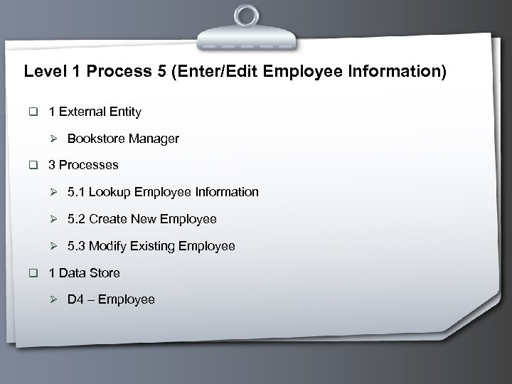 Level 1 Process 5 (Enter/Edit Employee Information) q 1 External Entity Ø Bookstore Manager