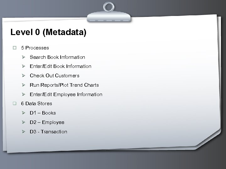 Level 0 (Metadata) p 5 Processes Ø Search Book Information Ø Enter/Edit Book Information
