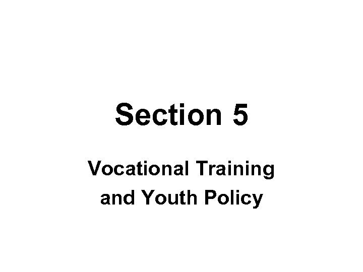 Section 5 Vocational Training and Youth Policy