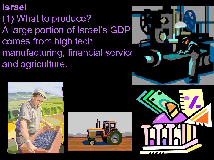 Israel (1) What to produce? A large portion of Israel's GDP comes from high