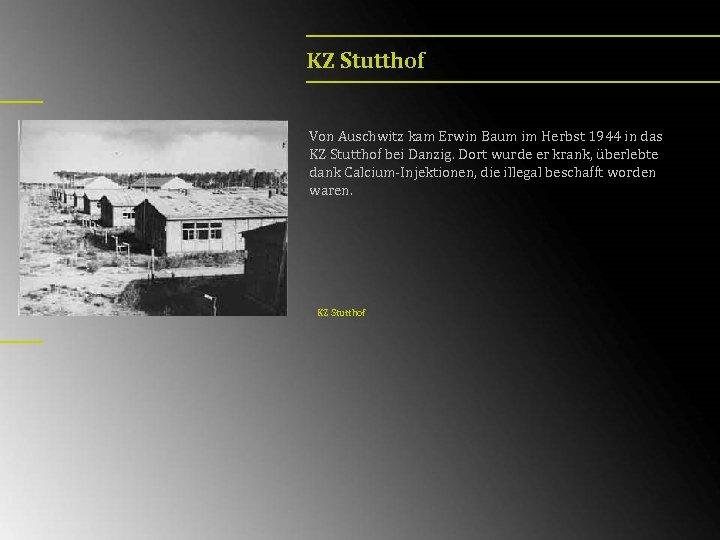 KZ Stutthof Von Auschwitz kam Erwin Baum im Herbst 1944 in das KZ Stutthof