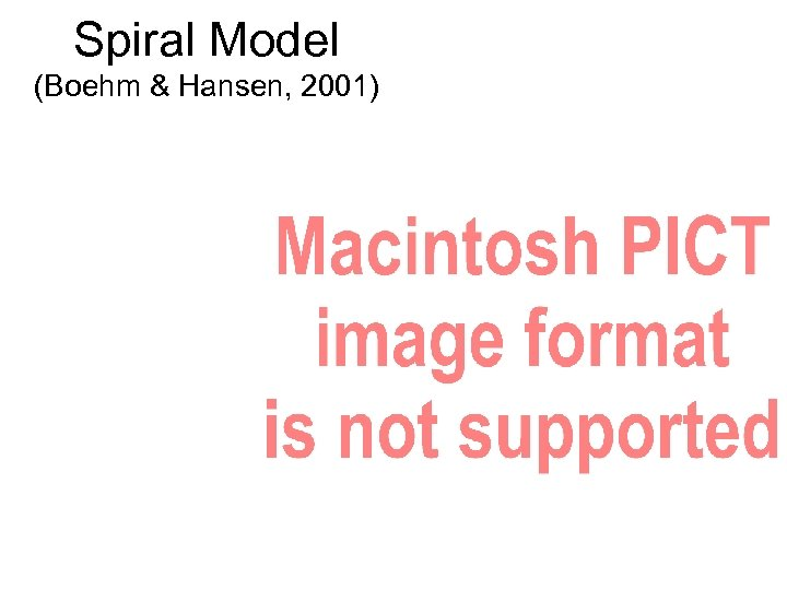 Spiral Model (Boehm & Hansen, 2001)