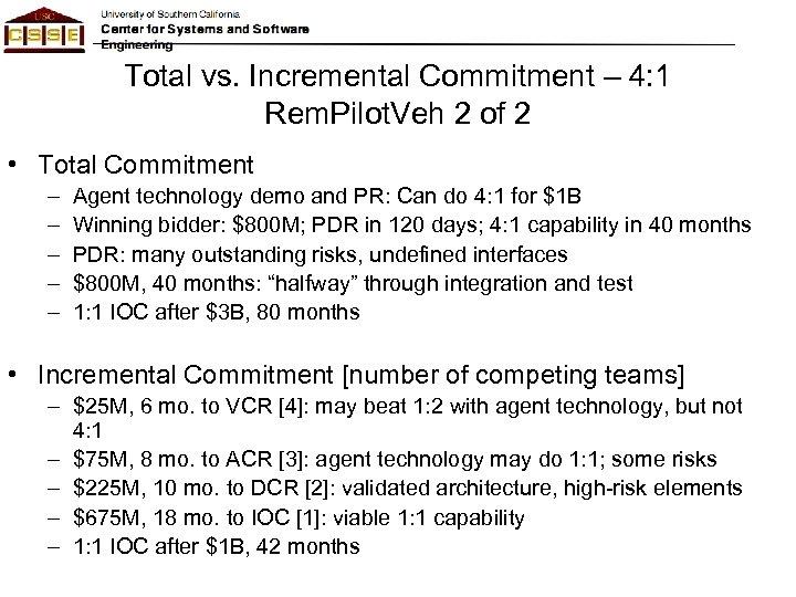 Total vs. Incremental Commitment – 4: 1 Rem. Pilot. Veh 2 of 2 •