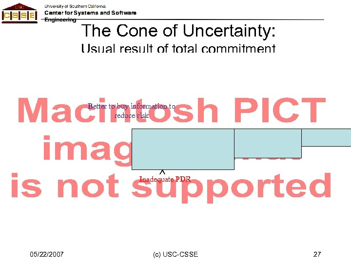 The Cone of Uncertainty: Usual result of total commitment Better to buy information to