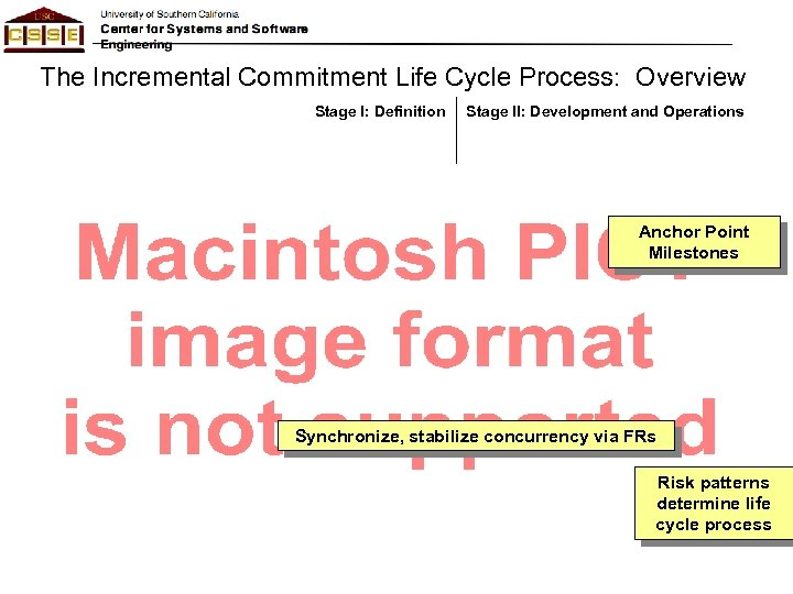 The Incremental Commitment Life Cycle Process: Overview Stage I: Definition Stage II: Development and