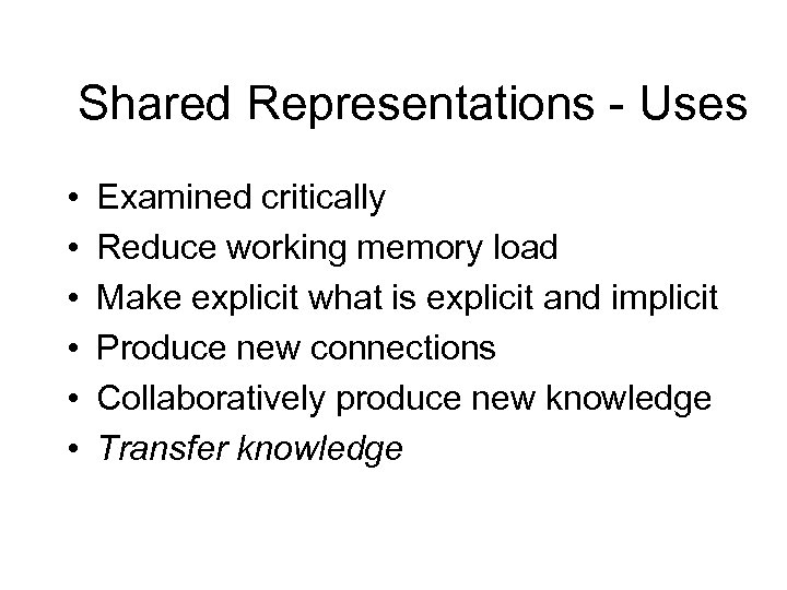 Shared Representations - Uses • • • Examined critically Reduce working memory load Make