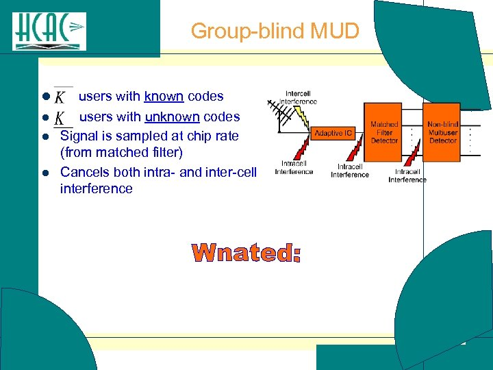 Group-blind MUD l l users with known codes users with unknown codes Signal is