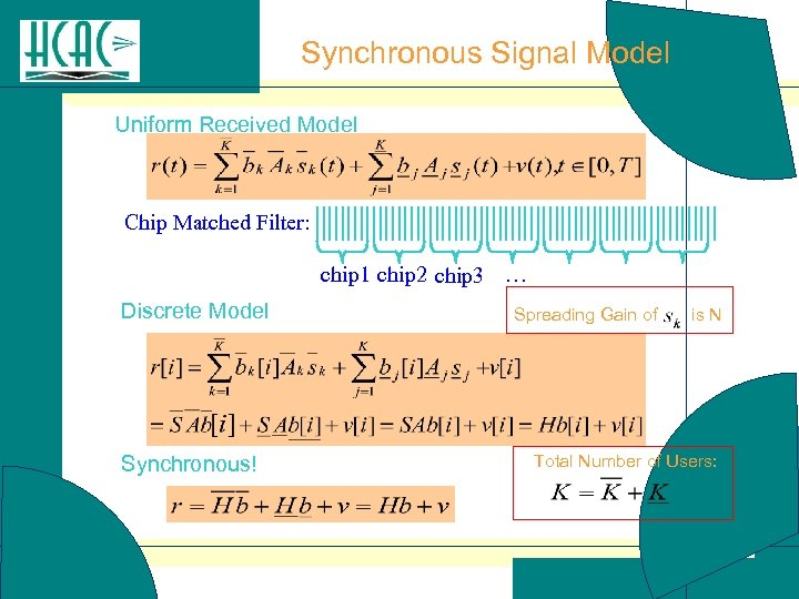 Synchronous Signal Model Uniform Received Model Chip Matched Filter: chip 1 chip 2 chip