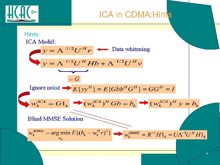 ICA in CDMA: Hints: ICA Model: Data whitening Ignore noise Blind MMSE Solution