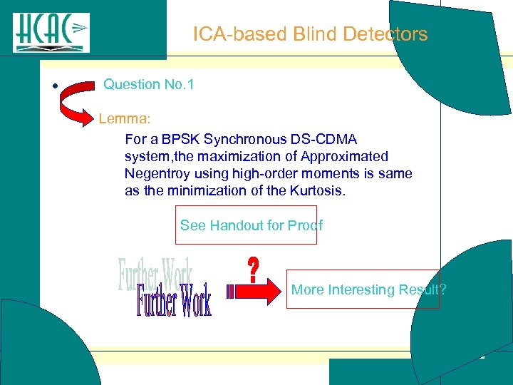 ICA-based Blind Detectors l Question No. 1 Lemma: For a BPSK Synchronous DS-CDMA system,